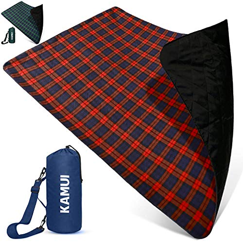 KAMUI Outdoor Waterproof Blanket - Machine Washable Picnic Blanket, Waterproof & Windproof Backing, Shoulder/Hand Strap Great for Festival, Park, Beach, Stadium Blanket 79X55inch 201X140cm Blue Red