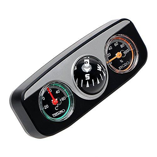 NOPNOG Adornos para interior de coche, termómetro higrómetro, brújula 3 en 1, decoración de coche