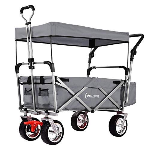 Bollerwagen belastbar bis zu 120kg faltbar klappbar mit Dach (Grau)