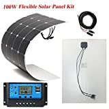 Brillihood - Pannello solare flessibile da 100 W + 20A 12V/24V LCD Controller per barca, camper, casa, sistemi di alimentazione ad energia solare al di fuori della griglia/di scorta