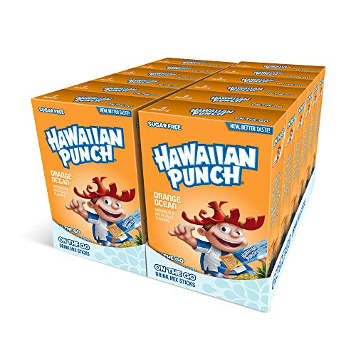 Hawaiian Punch, Orange Ocean– Powder Drink Mix - (12 boxes, 96 sticks) – Sugar Free & Delicious, Excellent source of Vitamin C, Makes 96 flavored water beverages
