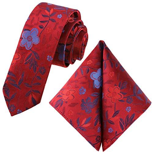 GASSANI Juego de 2 corbatas vintage con flores, 6 colores satinados, 6 cm, corbata estrecha Rojo rubí, azul cielo, acero y azul. X-Small