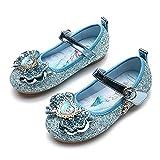 Eleasica Zapato de Vestir con Retrato de Princesa Elsa en Plantilla y Puntera, Media Bota con Cierre Simple para niñas, Zapato Brillante para Eventos Formales y Casuales, Juego de Disfraz Princesa