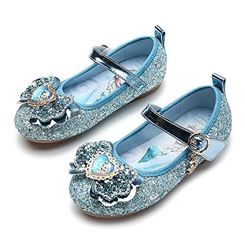Eleasica Zapato de Vestir con Retrato de Princesa Elsa en Plantilla y Puntera, Media Bota con Cierre Simple para nias, Zapato Brillante para Eventos Formales y Casuales, Juego de Disfraz Princesa