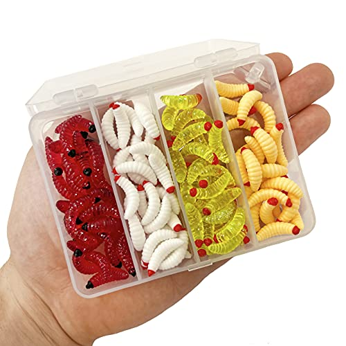 Gusano Artificial de Silicona – lombriz para Pescar – señuelos de Pesca – Replica Larvas de Gusano para Trucha – Vinilos de Silicona – 4 Colores 100 Unidades