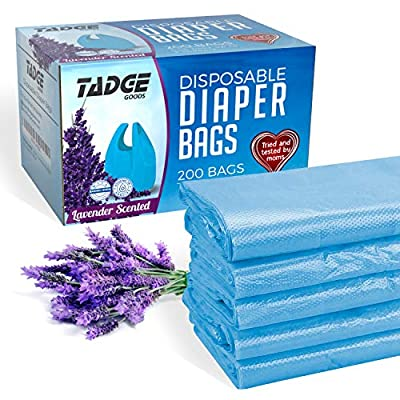 Tadge Goods Baby Disposable Diaper Bags - 100% Biodegradable Diaper Sacks with Lavender Scent & Added Baking Soda to Absorb Odors