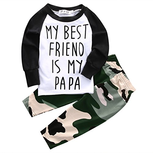 Baby Boys MY BEST FRIEND IS MY PAPA Long Sleeve Raglan T-shirt and Camo Pants Outfit (18-24M/Tag 90, White)