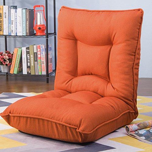 Harper&Bright Designs Adjustable 5-Position Folding Floor Gaming Chair Sofa Lounger Bed (Orange)