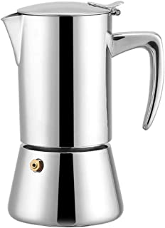 Coffee Pot, 200ML Stainless Steel Coffee Maker, Espresso Maker Teapot Cafe Maker with Funnel Filter, Suitable for Induction Hobs, Stovetop, Electric Ceramic Oven (Silver)