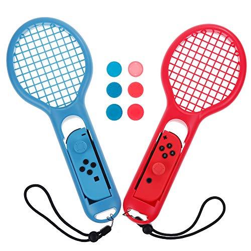 Zacro Tennisschläger für Mario Tennis Aces Spiel, Tennisschläger für Nintendo Switch Joy Con Controller, Tennisschlägergriffe mit 6 Daumen-Gummi-Abdeckung (1 x Blau und 1 x Rot)