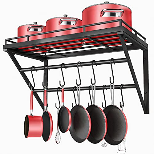 OROPY 23 Inch Wall Mounted Pot Rack Storage Shelf with 2 Tier Hanging Rails 12 S Hooks included,...