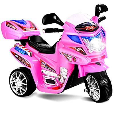 Costzon Ride On Motorcycle, 6V Battery Powered 3 Wheels Electric Bicycle, Ride On Vehicle with Music, Horn, Headlights (Pink)