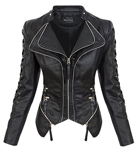 Rock Creek Damen Kunstleder Jacke Übergangs Jacke Leder Optik Bikerjacke D-365 [WS-967 Black L]