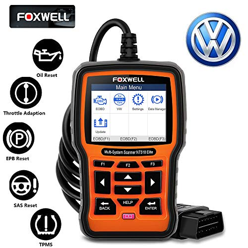 FOXWELL NT510 Elite Automotive Code Reader for VAG Full Systems Diagnostic Scanner on VW Audi Seat Skoda OBD2 Car Scan Tool All Functions Reset ABS SRS SAS EPB TPMS DPF Oil Light with Active Test
