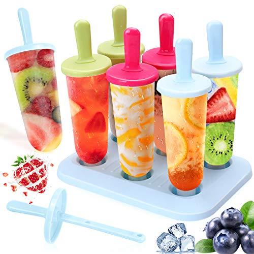 Eisform, Eisformen Bpa Frei Baby 6 Eis am Stiel Formen, DIY Ice Pop Lolly Popsicle Eisförmchen Wiederverwendbar Popsicle Sticks LFGB Geprüft für Kinder, Baby