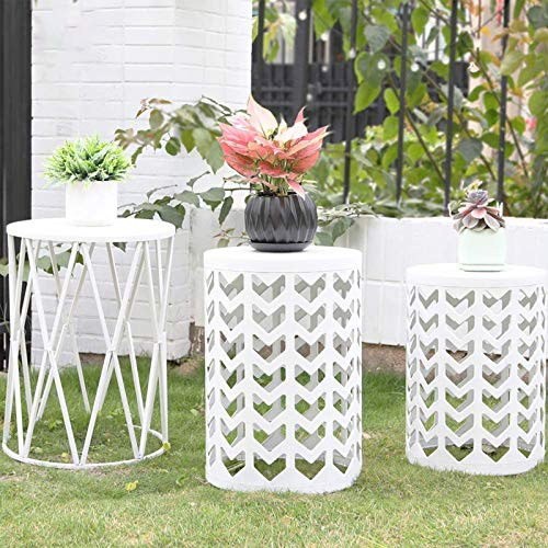 Set of 3 White Round Nesting Tables, Multifunctional Coffee Table End Table, Y&M Side Table for Indoor Outdoor, Metal Plant Stand, Garden Stool-Pure White(Ship from US)