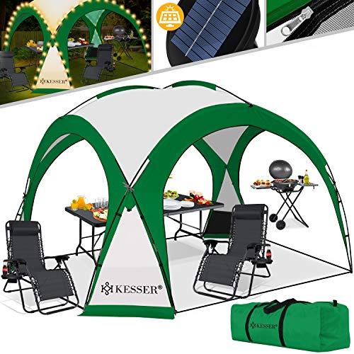 KESSER® LED Event Pavillon inkl. Solarmodul Designer Dome Gartenzelt 3,6 x 3,6m Camping Garten Partyzelt Eventzelt Festzelt Eventpavillon mit Beleuchtung wasserabweisend UV-Schutz Strandzelt Grün