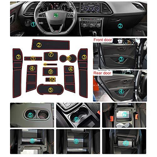 LFOTPP Seat Leon Cupra 5F FR MK3 Gummimatten, Gummi Matten Antirutschmatten für Getränkehalter Mittelkonsole Armlehne Türschlitz 11 Stücke