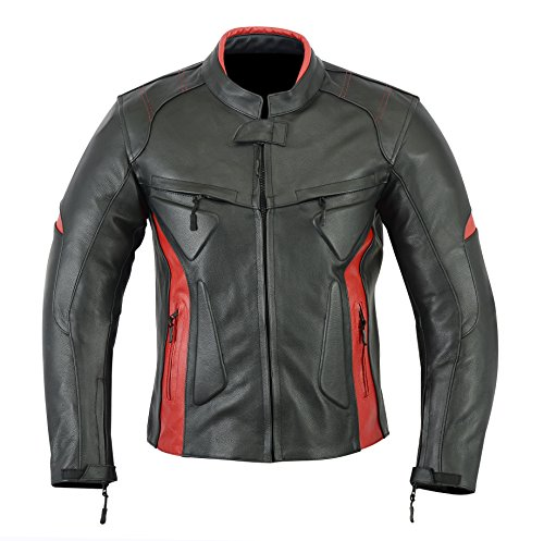MOTORCYCLE BIKERS MENS ARMOR POWER SPORTS LEATHER MENS JACKET BLACK RED LJ-1704. (XL)