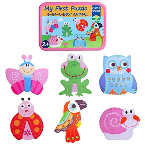 Jig Saw Puzzles, 6 en 1 Animales de dibujos animados de Tráfico de Madera Puzzle de Tráfico de la Primera Infancia Juguetes Educativos, Familia Interactiva Rompecabezas Juguete (C)