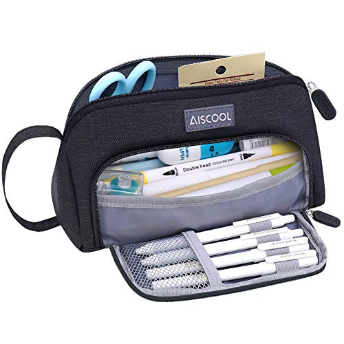 Aiscool Big Capacity Pencil Case Up to 70 Pencils Pen Pouch Holder Bag Large Storage Stationery Organizer for School Supplies Office College (Black)