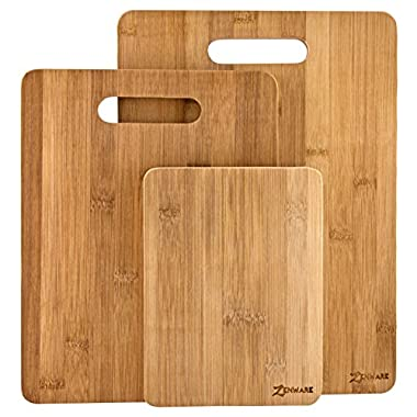 Zenware 3 Piece Triple-Ply Warp Resistant All Natural Bamboo Cutting Board Set – Small