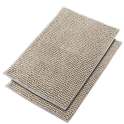 DLOPK Alfombra De Baño Tacto Suave Antideslizante Alfombrilla Microfibra Suave Antideslizante Alfombra de Ducha (Gris-Plata 40x60cm 2 Pack)