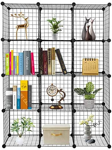 VINGLI Wire Cube Storage 12 Cube Metal Grids Bookshelf Modular Shelving Units Stackable Storage product image