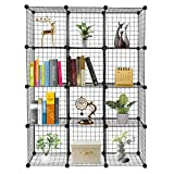 VINGLI Wire Cube Storage, 12-Cube Metal Grids Bookshelf, Modular Shelving Units, Stackable Storage Bins Ideal for Living Room Bedroom, Home, Office (12-Cube)