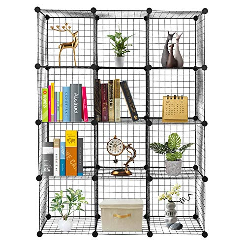C&AHOME Cube Storage Organizer, 12-Cube Shelves Units, Closet Cabinet, DIY Plastic Modular Book Shelf, Ideal for Bedroom, Living Room, Office, 36.6