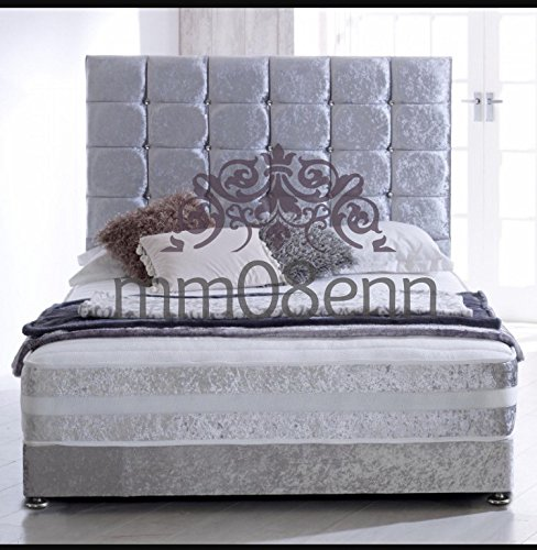 mm08enn SPECIAL 3O EXTRA TALL CUBE DIAMOND HEADBOARD IN CRUSHED VELVET AVAILABLE IN AND COLOURS. (4ft6 double, silver)
