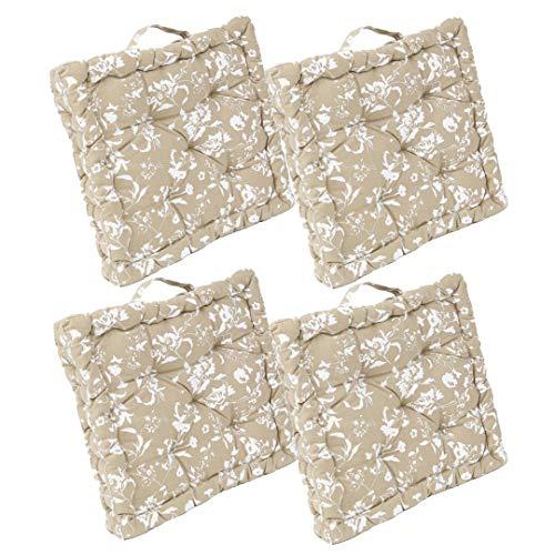 LEYENDAS Set de 4 Cojines, Cojines para Silla de 40 x 40 x 8 cm para Interior y Exterior de 100% algodón cojín Acolchado/cojín para el Suelo (Flores/Marron, 4)