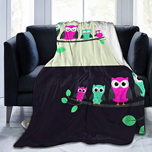 MEJX Throw Blanket,Family Of Owls Sitting On A Branch Two Variations,Microfiber All Season Bed Couch,60' x 80'