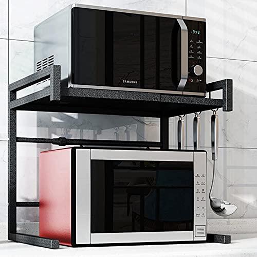 La rejilla del horno de microondas es retráctil, 2 capas, con 3 ganchos, carga de 121 libras, más ancha y más fuerte (blanco y negro, 50,7 * 30,6 * 24 cm)