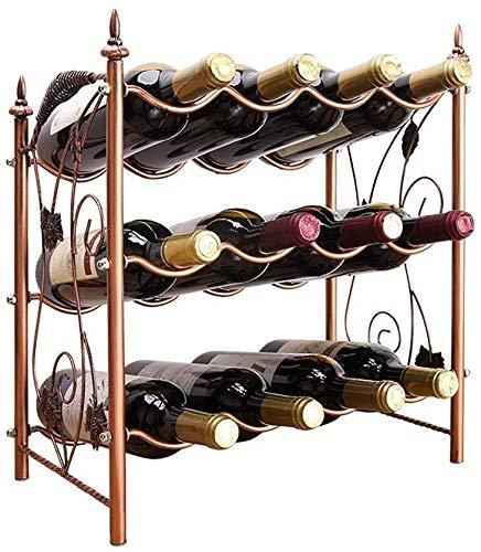 Estantería de vino Diseño moderno, independiente de uva metal estante de la botella de vino 12 Plataforma / Capa 3 del vino en rack apilable - Clásico estante estante del vino vino tinto estante de vi