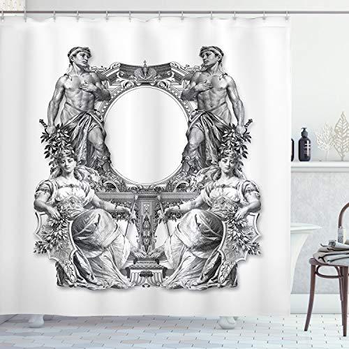 ABAKUHAUS viktorianisch Duschvorhang, Antike Barock Crown, Klare Farben aus Stoff inkl.12 Haken Farbfest Schimmel & Wasser Resistent, 175 x 200 cm, Schwarz weiß