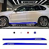 Cobear Adesivi Laterali Strisce Sport Stripes Adesivo Laterale per B MW 1 2 3 4 5 6 7 Series X1 X3 X4 X5 M Sport Individualità Adesivi Auto Decorazioni Accessori Blu 2 Pezzi