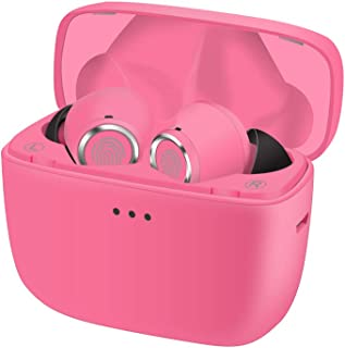 5.0 Bluetooth Headphones in-Ear Stereo Wireless Earphones - with Built in Mic and Charging Case for Sports Running,Magnetic Charging,Touch Button(Pink)