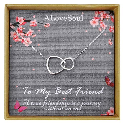 ALoveSoul Best Friend Necklace - Sterling Silver Two Interlocking Infinity Double Triangle Circles Friendship Necklace Friendship Gifts for Women Birthday Gift