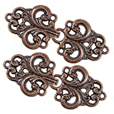 Bezelry 4 Pairs Swirl Flower Cape or Cloak Clasp Fasteners. 65mm x 28mm Fastened. Sew On Hooks and Eyes Cardigan Clip (Antique Copper)