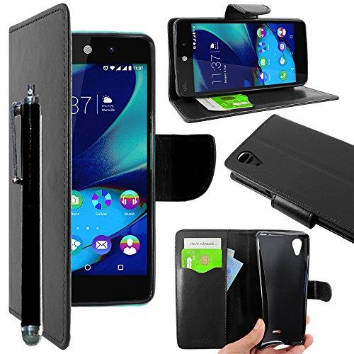ebestStar - Coque Compatible avec Wiko Rainbow Lite 4G Etui PU Cuir Housse Portefeuille Porte-Cartes Support Stand + Stylet, Noir [Appareil: 143 x 71.2 x 9mm, 5.0'']
