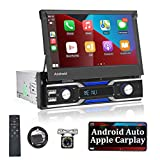 """Single Din Android 10.1 Car Stereo 7"""" Flip Out TouchScreen 1 Din Car Radio Compatible with Apple Carplay & Android Auto with WiFi GPS Navigation Bluetooth Backup Camera FM Mirror Link USB/SD/TF/AUX-in"""