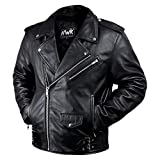 Leather Motorcycle Jacket For Men Moto Riding Cafe Racer...