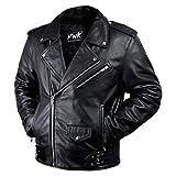 Leather Motorcycle Jacket For Men Moto Riding Cafe Racer Vintage Brando Biker Jackets CE Armored (5XL)