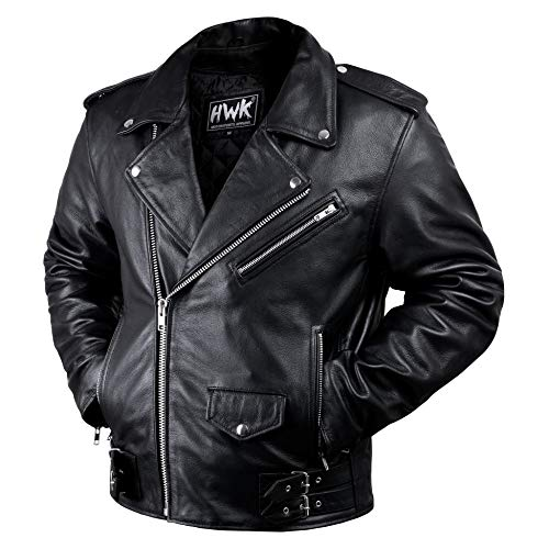 Leather Motorcycle Jacket For Men Moto Riding Cafe Racer Vintage Brando Biker Jackets CE Armored (L)