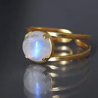 Natural Moonstone Gold Handmade Adjustable Ring (Sizes 6-9) Gold Field 14K