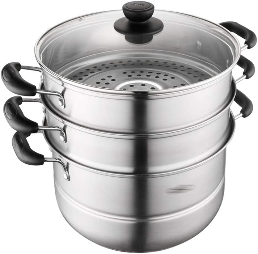half LSNLNN Inventory cleanup selling sale Pots Three Floors 28Cm Household S Large Thicken Steamer