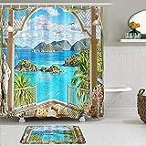 Mozenou Juego de Cortinas y tapetes de Ducha de Tela,Balcón de gaviotas de Ocean Island Palm Tree,Cortinas de baño repelentes al Agua con 12 Ganchos, alfombras Antideslizantes