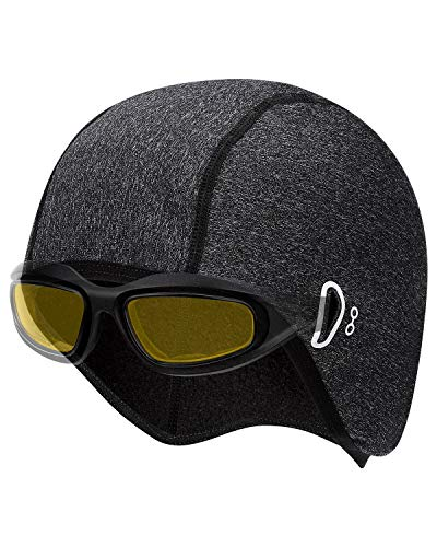 JOYTUTUS Cycling Skull Cap, Winter Cycling Hat Cap Under Helmet, Windproof Thermal Men Helmet Liner Skull Cap with Ear Covers Stretchable for Running Skiing Driving Biking Outdoor Sports