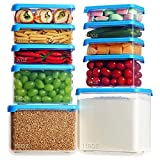 20-Pieces Airtight Food Storage Containers with Lids,Lockcoo Plastic Containers for Meat Fruit Vegetables Storage-Leakproof Stackable Kitchen Containers-Freezer/Microwave/Dishwasher Safe and BPA-Free